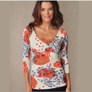 CAbi Grecian dot top Square neck blouse